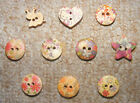 x5 Wooden buttons, childrens? Cards? Scrapbook? Clothes?