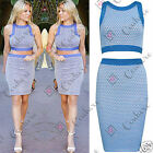 Womens Going Out Two Piece Bralet Crop Top and Skirt Bodycon 2 Set TOWIE Dress