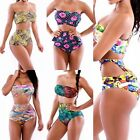 Sexy Women Digital Floral Printed Retro High Waist Bikini Set Swimsuit Swimwear