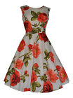 Womens 1940's 1950's Lightweight Cotton Peach Vintage Rose Tea Dress New 10 - 20