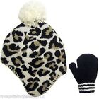 NWT CARTERS Girls CHEETAH Knit Hat Cap & Mitten Set 6-18m NEW