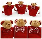 3 Cute Red Hanging Christmas/Xmas Teddy Bear Gift Bags. Stripes, Spots, Checks..