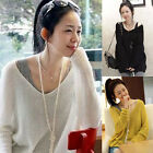 Womens Sexy V-neck Oversized Batwing Slouchy Knit Shirt Jumper Loose Sweater Top