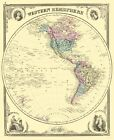 Old Western Hemisphere Map - Baskin 1876 - 23 x 28.10