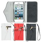 Multifunction Magnetic Flip Slots Zipper PU Leather Case Back for iPhon5/5S New