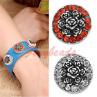 1X Charms Snap Rhinestone Rose Bouquet Button Bead Fit Buckle Bracelet Ring DIY