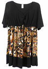 1X 2X 3x YUMMY PLUS BLACK BROWN CHEETAH LEOPARD TOP  WOMENS CLOTHING SHIRT