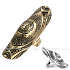 1pc Adjustable Mens Women Punk Sun Shine Carved Wrap Long Band Finger Ring us8
