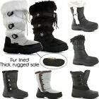 NEW WOMENS LADIES WARM THICK SOLE WINTER SNOW BOOTS WELLIES FUR LINED SHOES SIZE