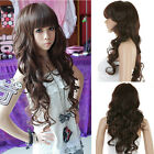 New Sexy Fashion Style Curly Wavy Long Hair Full Wigs Hand Weave Brown Hair Wig