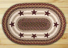 Burgundy STARS Printed Braided JUTE Rug, Lodge, CABIN, Rustic, HEARTH, Primitive