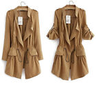 HOT Womens Casual Vintage Drawstring Boho Boyfriend Blazer Jacket Cardigan Coats