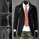 Hot Mens Fashion Double Breasted Slim Fit Trench Cotton Overcoat Outwear Jacket