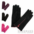 Ladies Suede Gloves with Fleece Lining and Button Design