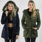 Ladies Womens New Parka Coat Jacket with PU Trim and Oversized Fur Trimmed Hood