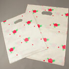 50 White Floral Patch Handle Carrier Gift Shopping Plastic Gift Bags25cm32cm40cm