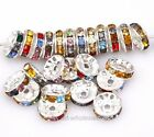 50pcs,10mm Colorful Crystal Rhinestone Metal Spacer Beads for Jewelry Making