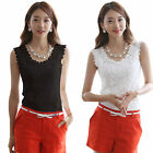 Women 's Modal Floral Lace Spaghetti Strap Sleeveless Tank Top Shirt Vest Blouse