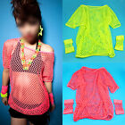 UK 80s Costume Ladies Mesh Top and Short Mesh Gloves Neon Colours  Fancy Dress
