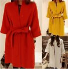Womens Winter Wool Blended Jacket Three Quarter 3/4 Sleeve Loose Long Warm Coats