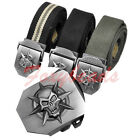 Men Women Sports Thick Canvas Fabric Webbing Waistband Cool Skeleton Buckle Belt