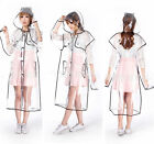 WOMENS PRETTY CLEAR TRANSPARENT THICKENED RAINCOAT PVC RAIN COAT JACKET HOT Sell