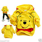 Kids Baby Boys Girls Winnie The Pooh Yellow Hoodies Sweatshirts 2-8years Jacket