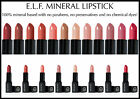 E.L.F ELF STUDIO NATURAL MINERAL MAKEUP LIPSTICK PINK NUDE RED CHERRY CORAL PLUM