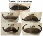 Turned Up Human Hair Handmade Mustache 5 Styles - Edwardian English Handlebar