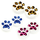 Multiple Sizes Blue Brown Pink Leopard Paw Acrylic Flesh Tunnels White Ear Plugs