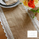 Shabby Chic Burlap Lace Table Runner+Tableware Pouch Natural Jute Hessian Party