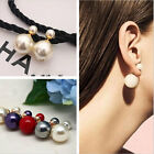 Celebrity Runway Double Pearl Beads Plug Earrings Ear Studs Pin