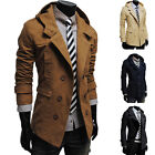 Cool Mens Fashion Casual Double Breasted Trench Slim Long Coat Hoodies Jacket U