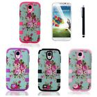 For Samsung Galaxy S4 Case Flower Hybrid Rubber Protective Impact Hard Cover