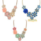 Fashion Flower Charm Graceful Rose Necklace Jewelry Pendant Crystal Statement