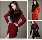Women's Fashion Slim Trench Warm Coat Double Breasted Fur Collar Jacket Outwear