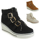 WOMENS LADIES ANKLE GOLD BUCKLE FLAT HI-TOP WEDGE SHOES BOOTS TRAINERS SIZE