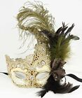 Feather Venetian Halloween beige accent Lace Masquerade Ball Renaissance Mask