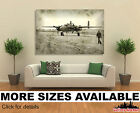 Wall Art Canvas Picture Print - Faded Photo Of Old Bomber Airplane &  Pilot 3.2