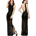 Sexy Sleeveless Lace Sequin Slim Maxi Formal Prom Party Gown Evening Long Dress