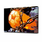 EZ0952 LARGE FLAMING FOOTBALL CANVAS PRINT