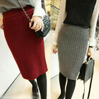 NEW Women's Sexy Knee Length OL Stretch Bodycon Knit Sweater Pencil Skirt 3Color