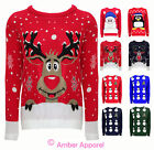 LADIES MENS XMAS CHRISTMAS NOVELTY JUMPER RETRO UNISEX RUDOLPH SNOWMAN SWEATER