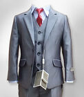 Boys Light Grey 3PC Formal Suit, Luxury Wedding Prom Page Boy Suits by Romano