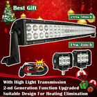 50inch LED Light Bar Curved + 2X 4 in CREE led work lights Jeep Truck Offroad 52