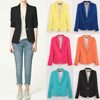 Fashion Womens Candy Color Basic Slim Foldable Suit Jacket Blazer Coat 6 Colors
