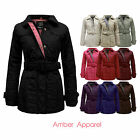 Coat Jacket Ladies Quilted Belted Padded Zip Top Plus Size AU 10-22 New
