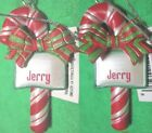 Ornament, Personal Name - JERRY Plaid Striped - 3D Candy Cane Bow Christmas JOY