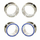 Value Pack 2 PAIRS Clear Blue Crystals Gems Silver Steel Flesh Tunnels Ear Plugs