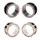 Value Pack 2 PAIRS Clear Pink Crystal Black Silver Steel Flesh Tunnels Ear Plugs